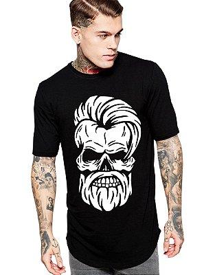 Camiseta Long Line Oversized Masculina Caveira Estilo Barbeiro Camisetas Barra Curvada - Camisetas Personalizadas