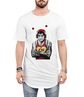 Camiseta Long Line Oversized Masculina Chapolim Tatuado Camisetas Barra Curvada - Camisetas Personalizadas/ Customizadas/ Estampadas/ Camiseteria/ Estamparia/ Estampar/ Personalizar/ Customizar/ Criar/ Camisa Barata  Loja Online