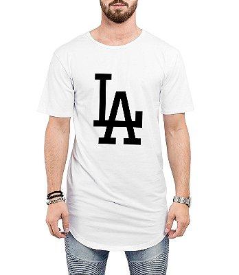 Camiseta Long Line Oversized Masculina LA Los Angeles Camisetas Barra Curvada - Camisetas Personalizadas/ Customizadas/ Estampadas/ Camiseteria/ Estamparia/ Estampar/ Personalizar/ Customizar/ Criar/ Camisa Barata  Loja Online