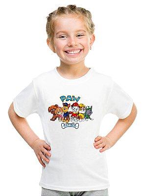 Camiseta Infantil Branca Feminina Menina Patrulha Canina Paw Patrol Dogs- Personalizadas/ Customizadas/ Estampadas/ Camiseteria/ Estamparia/ Estampar/ Personalizar/ Customizar/ Criar/ Camisa Blusas Baratas Modelos Legais Loja Online