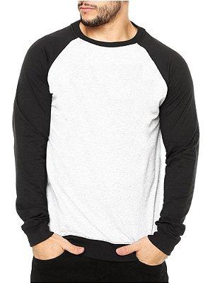 Moletom Masculino Preto Branco Raglan Liso Blusa Casaco - Moletons Personalizados Blusa/ Casacos Baratos/ Blusão/ Jaqueta Canguru/ Blusa de Frio