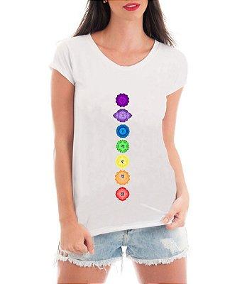 Blusa Feminina 7 Chakras Esotérica Equilíbrio Camiseta - Personalizadas/ Customizadas/ Estampadas/ Camiseteria/ Estamparia/ Estampar/ Personalizar/ Customizar/ Criar/ Camisa Blusas Baratas Modelos Legais Loja Online