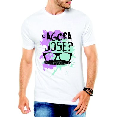 Camiseta Branca Masculina E agora José - Personalizadas/ Customizadas/ Estampadas/ Camiseteria/ Estamparia/ Estampar/ Personalizar/ Customizar/ Criar/ Camisa Blusas Baratas Modelos Legais Loja Online