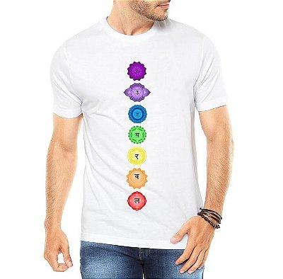Camiseta Masculina 7 Chakras Esotérica Equilíbrio - Personalizadas/ Customizadas/ Estampadas/ Camiseteria/ Estamparia/ Estampar/ Personalizar/ Customizar/ Criar/ Camisa Blusas Baratas Modelos Legais Loja Online