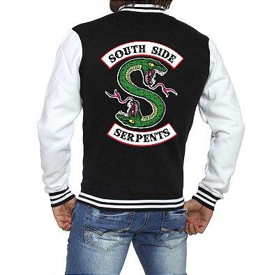 Jaqueta College Masculina Riverdale South Side Serpents Séries Seriados Serpentes do Sul - Jaquetas Colegial Americana Universitária Casacos Blusa Loja Online 
