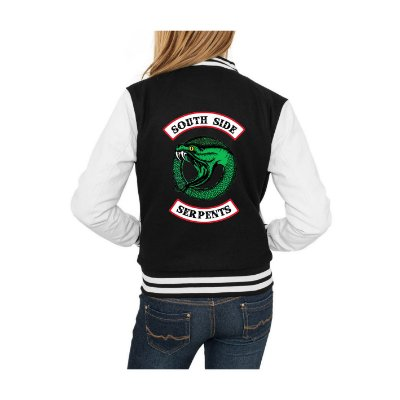 Jaqueta College Feminina Riverdale South Side Serpents 2ª Temporada Nova Logo Séries Seriados Serpentes do Sul - Jaquetas Colegial Americana Casacos Blusa Loja Online