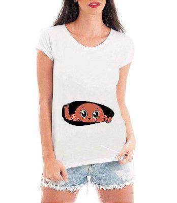 Camiseta Feminina Gestante Bebe Negro Espiando- Frases Engraçadas Grávidas  Personalizadas/ Customizadas/ Estampadas/ Camiseteria/ Estamparia/ Estampar/ Personalizar/ Customizar/ Criar/ Camisa Blusas