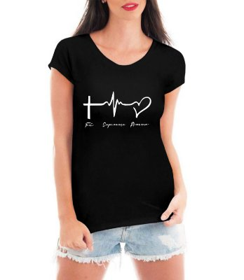 Camiseta Escrito Fé Esperança e Amor  Feminina Cruz Religiosa Gospel Evangélica