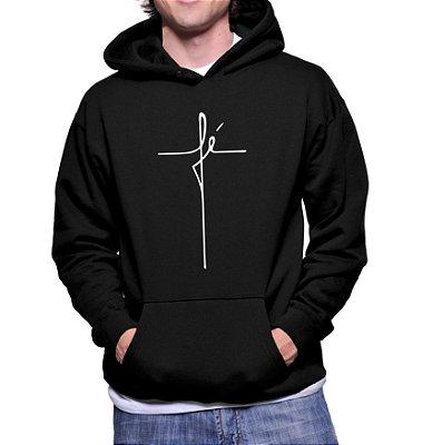 Moletom Casaco Escrito Fé Masculino Cruz Camisa Gospel Religiosa Evangélica  -  Moletons Personalizados Blusa/ Casacos Baratos/ Blusão/ Jaqueta Canguru