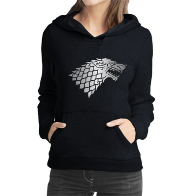 Moletom Feminino Game Of Thrones Lobo Stark Series Preto