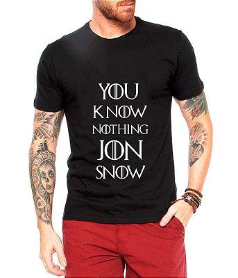 Camiseta Masculina Game Of Thrones Jon Snow Frases Series