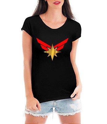 Blusa Capitã Marvel Feminina Vingadores Camiseta Super Heróis