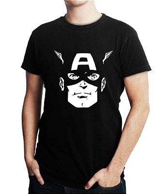 Camiseta Capitão América Face Marvel Super Herói Vingadores Masculina