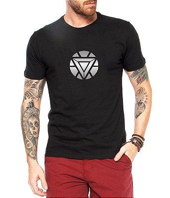 Camiseta Tony Stark Reator Arc Homem de Ferro Marvel Super Herói Vingadores Masculina
