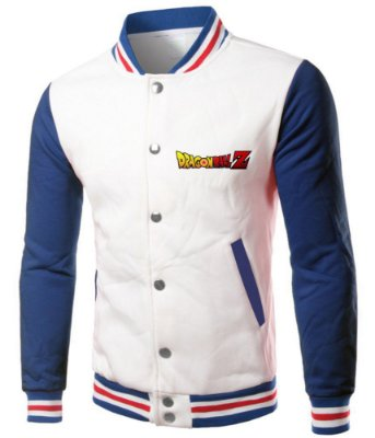 Jaqueta Masculina Dragon Ball Z Anime Casaco College Branca