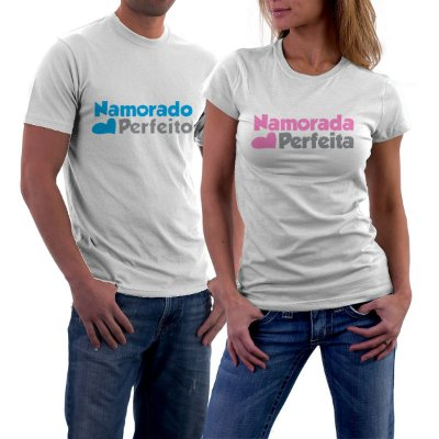 Camiseta Casal Dia dos Namorados Namorada Perfeita Namorado Perfeito Frases Engraçadas e Divertidas Kit 2 Camisetas