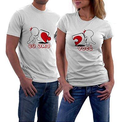 Camiseta Casal Dia dos Namorados Eu Amo Você Namorada Namorado Frases Engraçadas e Divertidas Kit 2 Camisetas