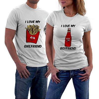 Camiseta Casal Dia dos Namorados Fritas e Catchup Amor Love Namorada Namorado Frases Engraçadas e Divertidas Kit 2 Camisetas