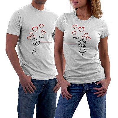 Camiseta Casal Dia dos Namorados Amo Você Namorada Namorado Frases Engraçadas e Divertidas Kit 2 Camisetas