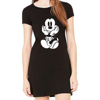 Vestido Curto Mickey Sentado Moda Feminino