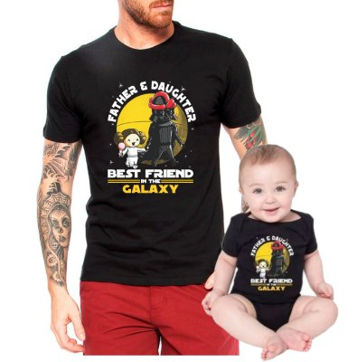 Kit Tal Pai Tal Filha Camiseta e Body Bebê Best Friend In The Galaxy Father and Daughter