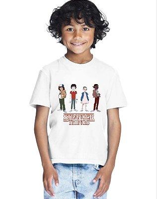 Camiseta Infantil Stranger Things Serie Mundo Invertido Branca