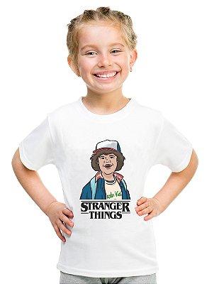 Camiseta Infantil Stranger Things Dustin Camiseta Série Menina