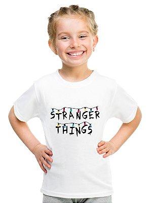 Camiseta Infantil Stranger Things Luzinhas Série Mundo Invertido
