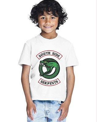 Camiseta Infantil Riverdale Serpentes do Sul Série Nova Logo Menino