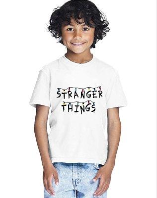 Camiseta Infantil Stranger Things Luzinhas Série Mundo Invertido Menino