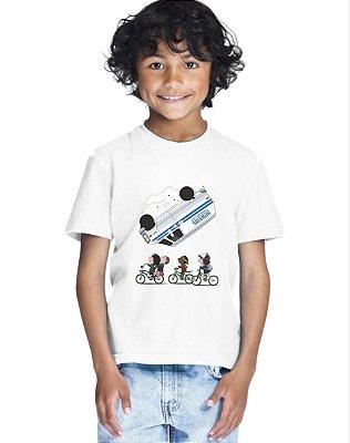 Camiseta Infantil Stranger Things Kombi Once Camiseta Série Menino