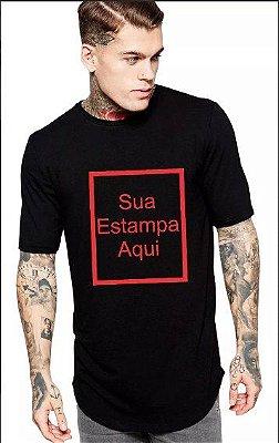Camiseta Masculina Long Line Oversized Personalizada Customizada Sua Estampa Aqui