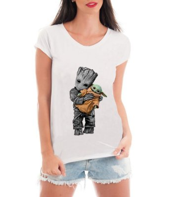 Camiseta Feminina Groot e Baby Yoda Friends Blusa Feminina Filme Star Wars Guardiões da Galáxia