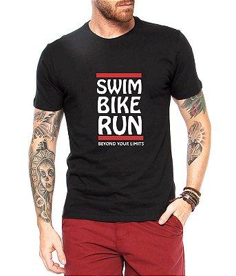 Camiseta Triathlon Masculina Camisa Esporte Preta Nadar Pedalar Correr Manga Curta