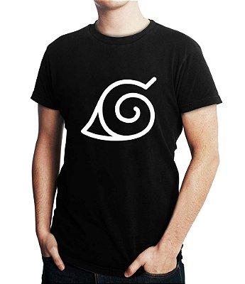 Camiseta Naruto Aldeia da Folha Masculina Anime Símbolo Camisa Preta