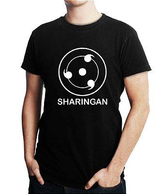 Camiseta Naruto Sharingan Masculina Anime Símbolo Camisa Preta