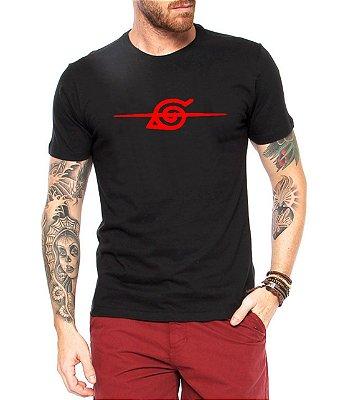 Camiseta Naruto Konoha Masculina Anime Aldeia Camisa Preta