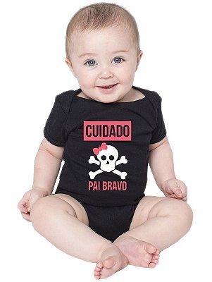 Body Bebê Frases Divertidas Papai Pai Bravo Preto