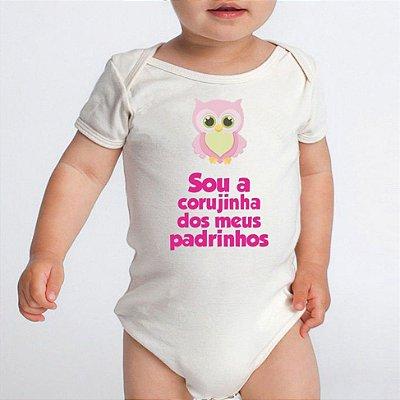Body Bebê Frases Divertidas Corujinha Dos Dindos Padrinhos Dinda e Dindo Branco