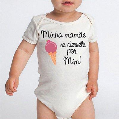 Body Bebê Minha Mamãe Se Derrete Frases Divertidas Básico Branco