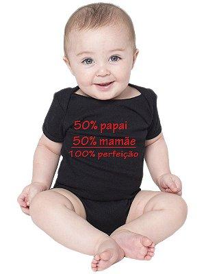 Body Bebê Papai Mamãe Perfeição Frases Divertidas Fofas Preto