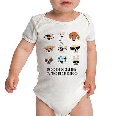 Body Bebê Mais Feliz com Pêlo de Cachorro Manga Curta Infantil