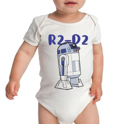 Body R2-D2 Star Wars Fofinho Droid Bebê Frases Engraçadas Branco