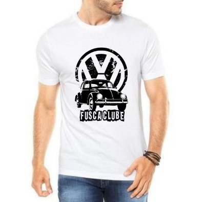 Camiseta Masculina Branca Fusca Clube Carro Antigo Clássico Wolksvagem
