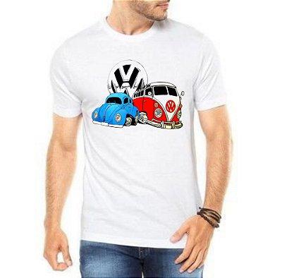 Camiseta Masculina Branca Fusca e Kombi Carro Antigo Clássico Wolksvagem