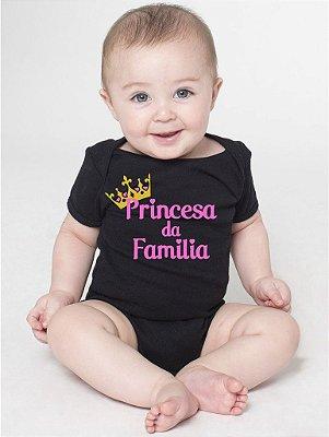 Body Bebê Frases Divertidas Princesa da Família - Roupinhas Macacão Infantil Bodies Roupa Manga Curta Menino Menina Personalizados