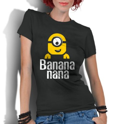 Camiseta Feminina Minions Desenho Banana - Personalizadas/ Customizadas/ Estampadas/ Camiseteria/ Estamparia/ Estampar/ Personalizar/ Customizar/ Criar/ Camisa Blusas Baratas Modelos Legais Loja Online