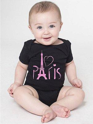 Body Bebê Personalizado Paris - Roupinhas Macacão Infantil Bodies Roupa Manga Curta Menino Menina Personalizados