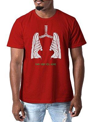 Camiseta Masculina Tênis Pulmão Corrida Run Esporte Camisa Esportiva Vermelha