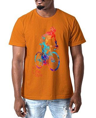 Camiseta Masculina Ciclista Life Style Esporte Camisa Esportiva Laranja